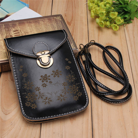 Mobile Phone Leather Strap Crossbody Purse