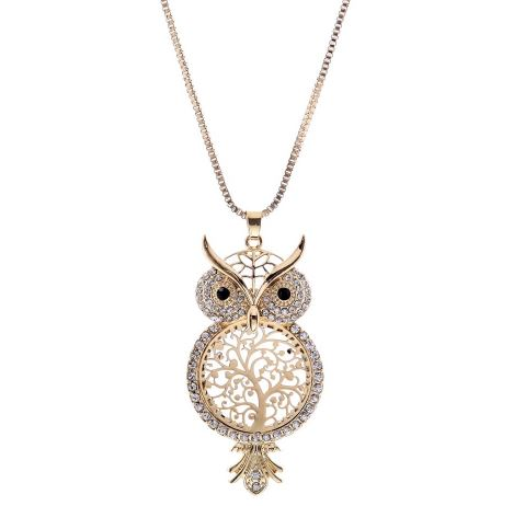 Owl Crystal Hollow Out Tree Of Life Pendant Necklaces