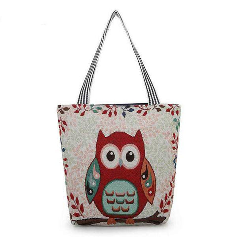 Owl Designer Canvas Shoulder Bag