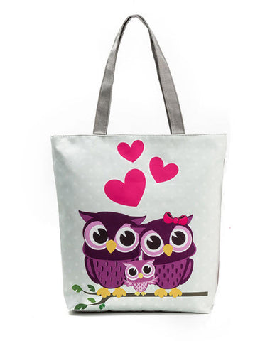 Love Owl Canvas Beach Bag