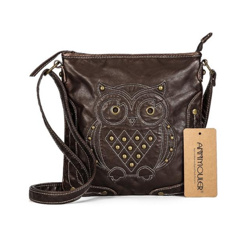 Owl Soft Vegan Leather Shoulder Bag