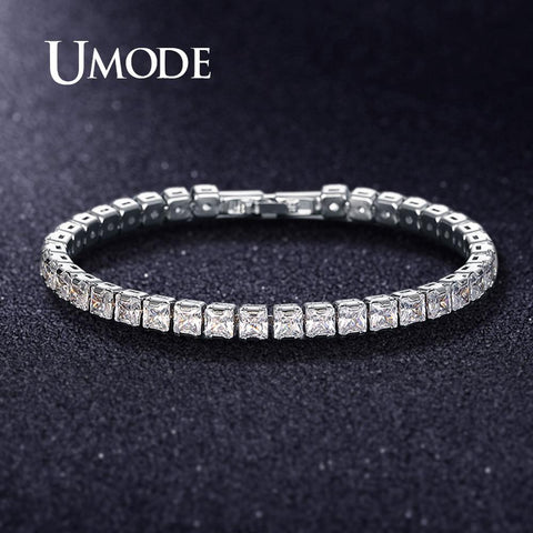 UMODE 0.25ct Clear Square Cubic Zirconia Tennis Bracelet for Men Women