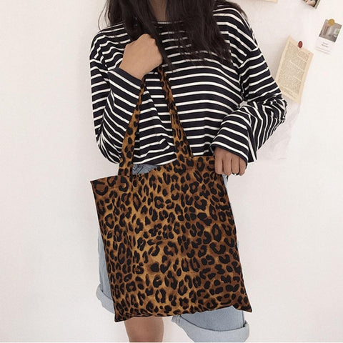 Cotton Simple Leopard Print Light Tote Handbags