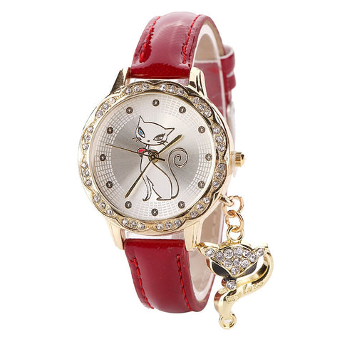 Diamond Cat Fashion Leather Quartz Watches