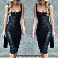 Women Bodycon Black Sleeveless Dress