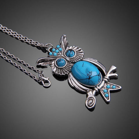 FREE Vintage Boho Blue Owl Pendant Necklace