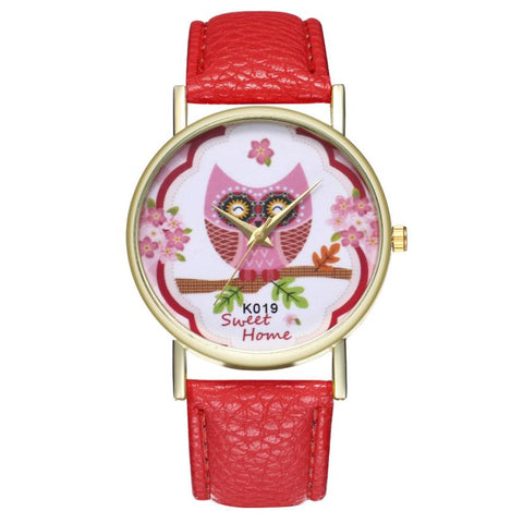 Women's Fashion Owl Leather Band Watches