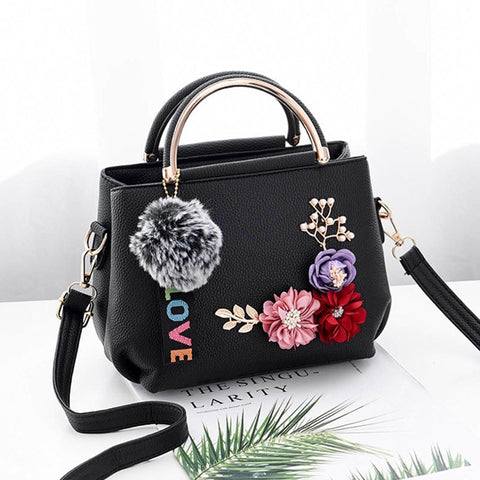 Women Flowers Leather Handbag