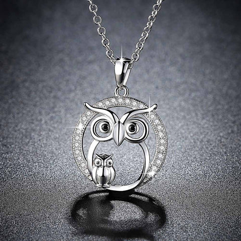 Women Owl Mother And Child Pendant Choker Necklace