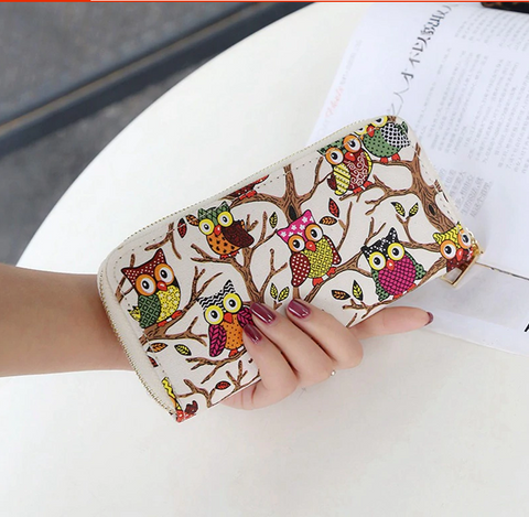 Ladies Owl Print Leather Clutch Wallet - Free + Shipping