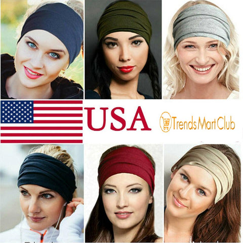 Women Wide Sports Yoga Headband Stretch Hairband Elastic Hair Band