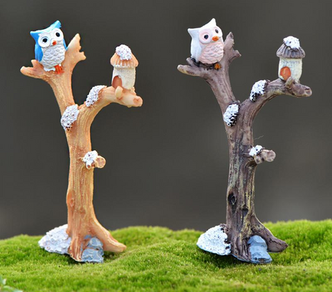 FREE Owl On The Tree Miniature  Home Decoration