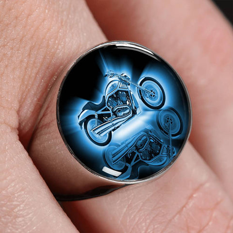 Motorcycle Chrome Signet Ring