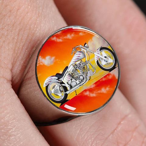 Motorcycle Orange Chrome Signet Ring