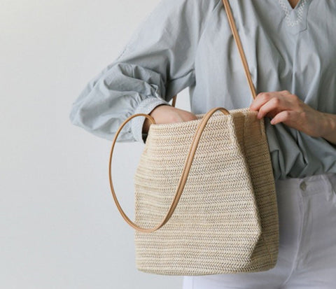 Summer Woven Tote Beach Bucket Bag