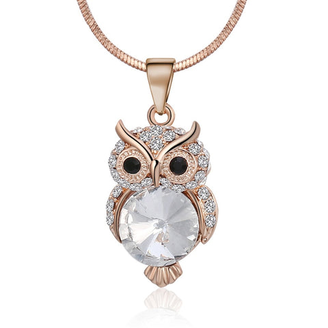 Women Owl Crystal Pendant Necklaces