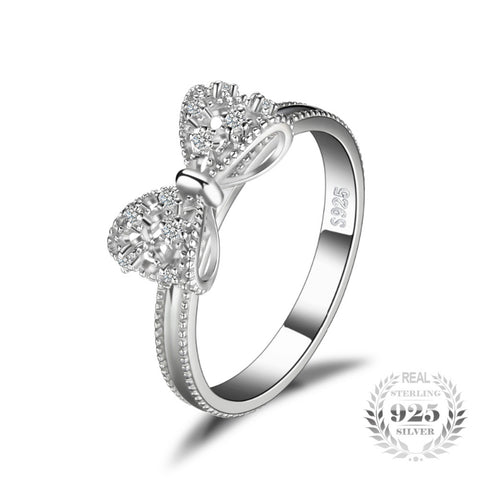 925 Sterling Silver Diamond Bow Ring
