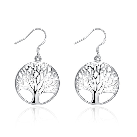 Silver Plated Women Tree Of Life Earrings