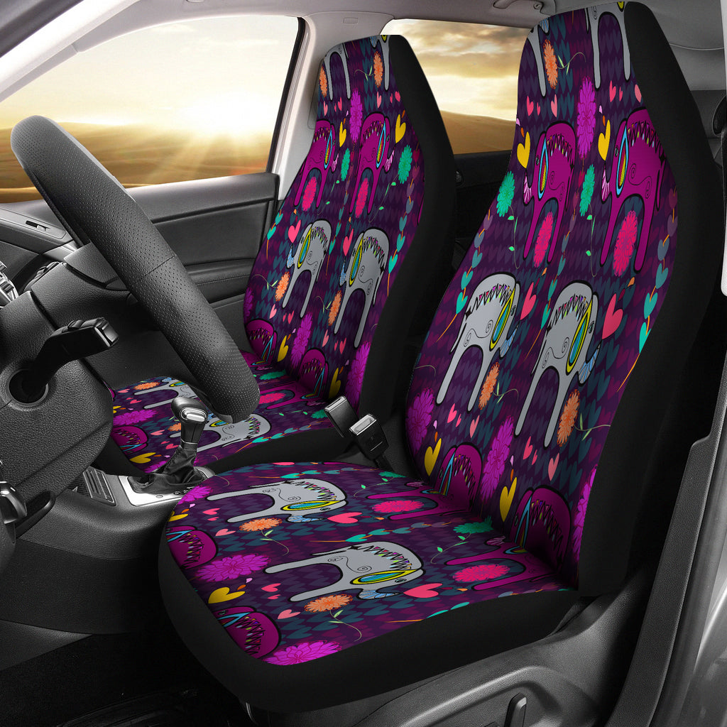 Elephant Hearts and Flowers Car Seat Cover