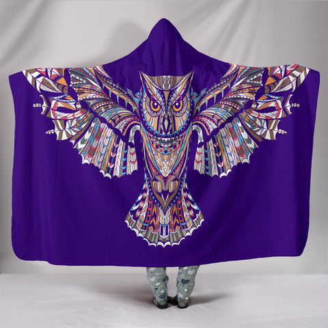 Indigo Fierce Owl Hooded Blanket