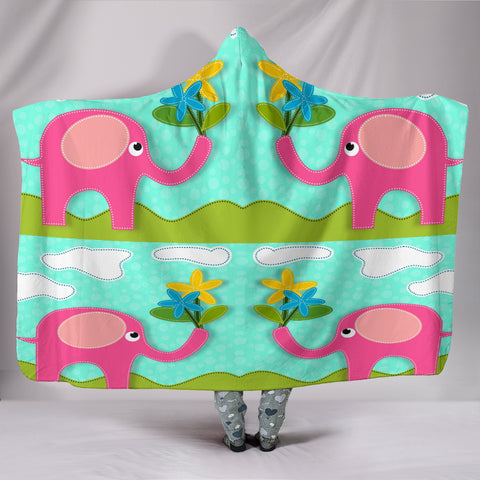 Pink Elephant Hooded Blankets
