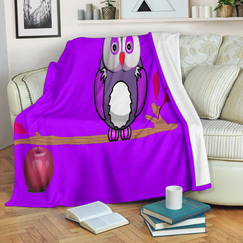 Owl Apple Tree Premium Blanket