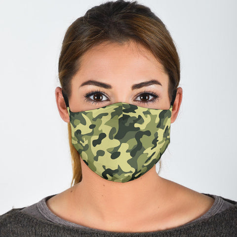 Light Green Camo Face Mask