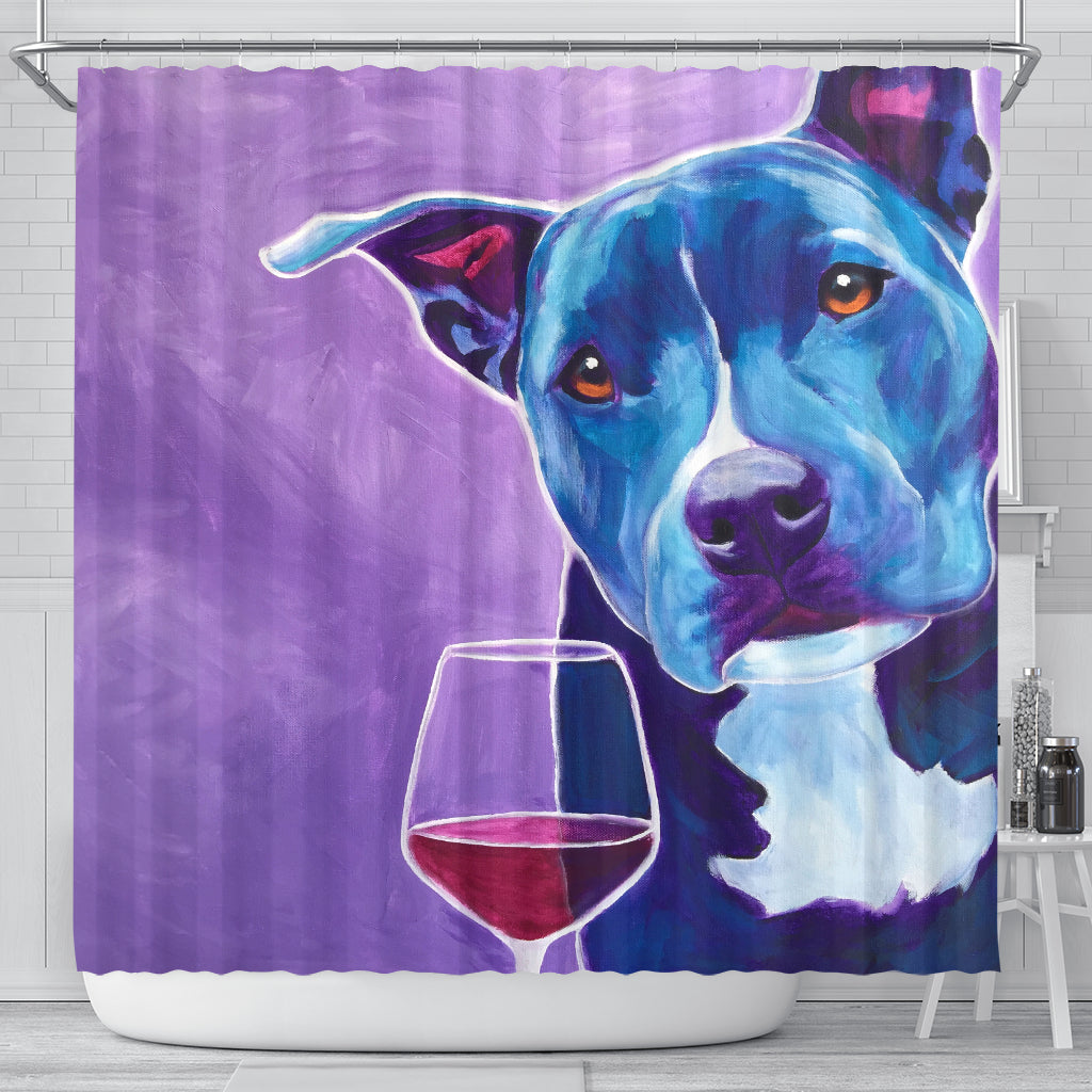 Dog Wine Lover Shower Curtain