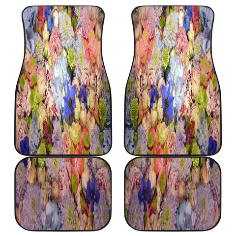 Chic Floral Front And Back Car Mats