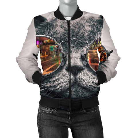 Women's Cat Bomber Jacket -  Express Shipping