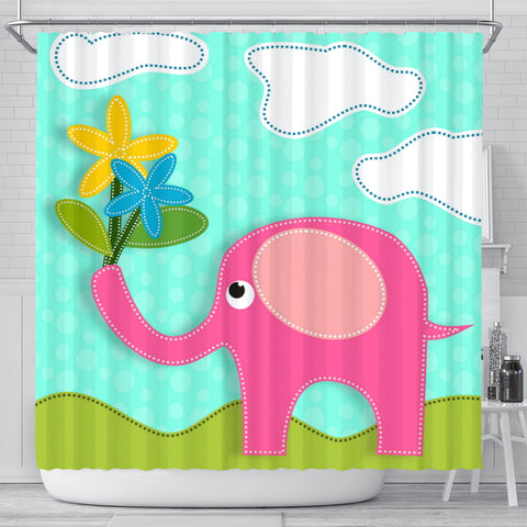 Pink Elephant Shower Curtain