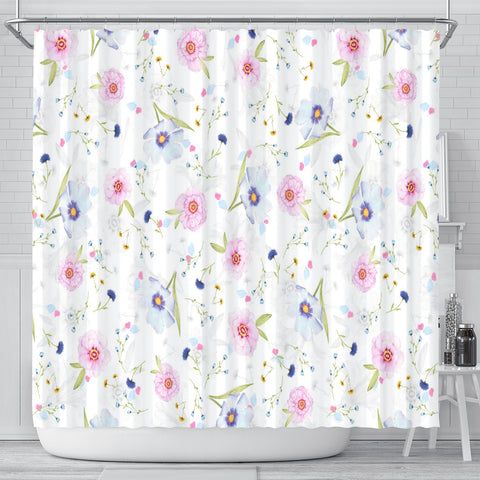 Pink And Purple Floral Shower Curtain