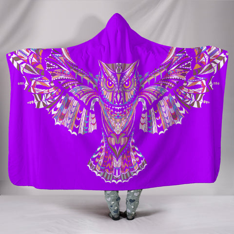 Fierce Purple Owl Hooded Blanket -  Express Shipping