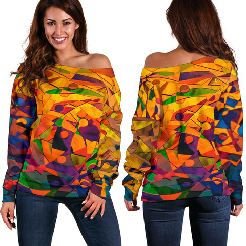 Abstract Shapes Off Shoulder Sweater
