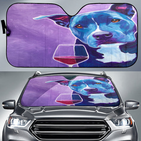 Dog Wine Lover Auto Sun Shade -  Express Shipping