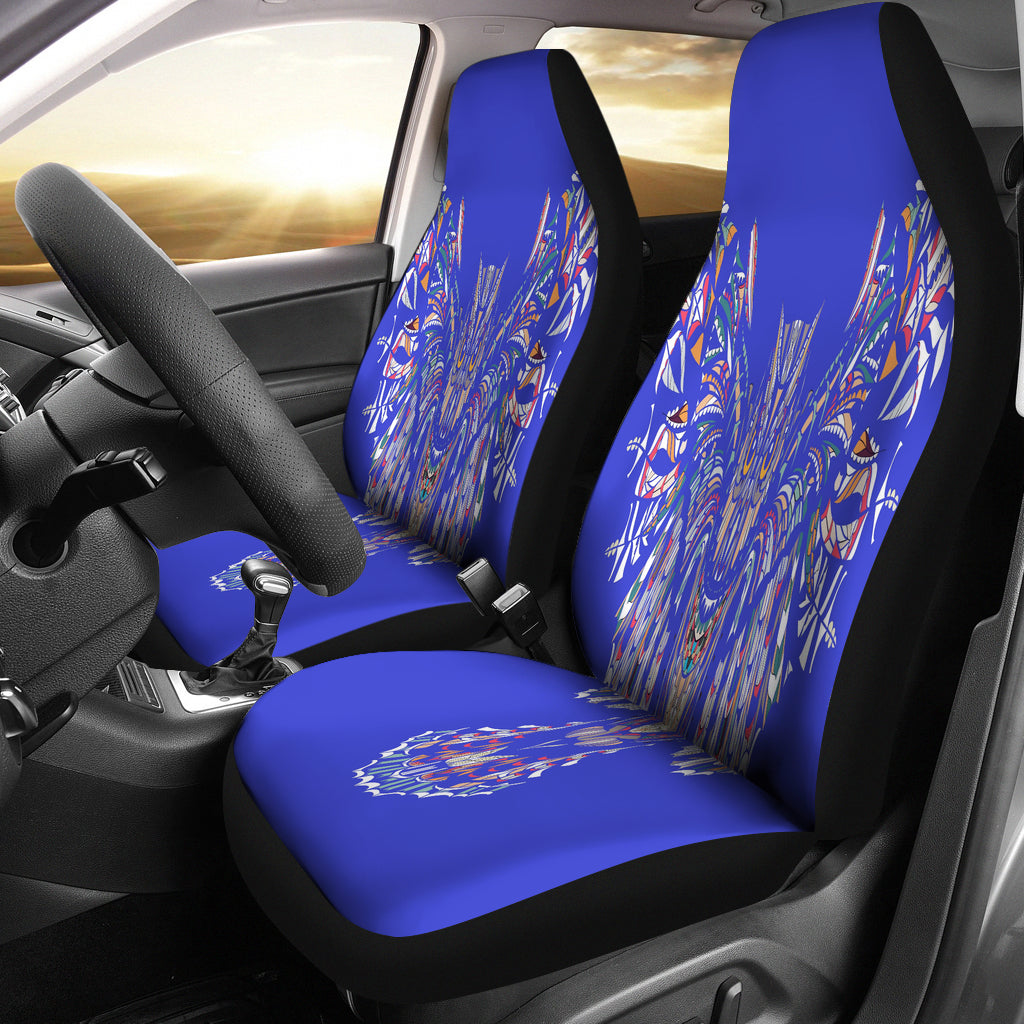 Blue Fierce Owl Car Seat Cover