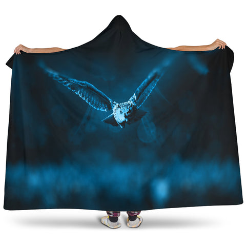 Owl In Flight Hooded Blanket
