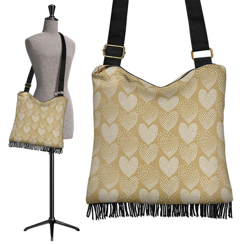 Golden Heart Crossbody Boho Handbag