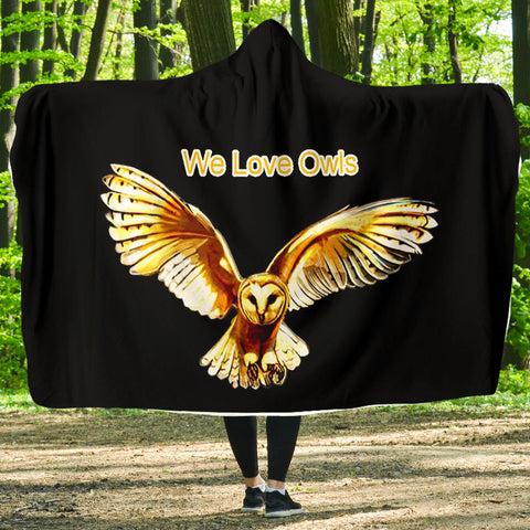 We Love Owls Hoodie Blanket