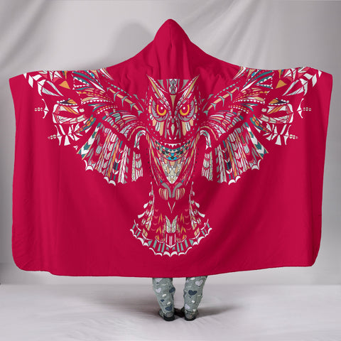 Fierce In Pink Owl Hooded Blankets