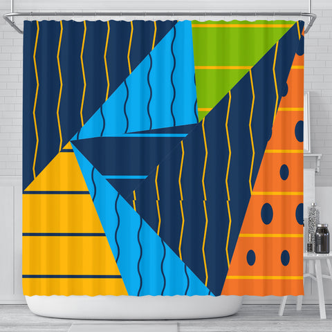 Triangles And Lines Shower Curtain