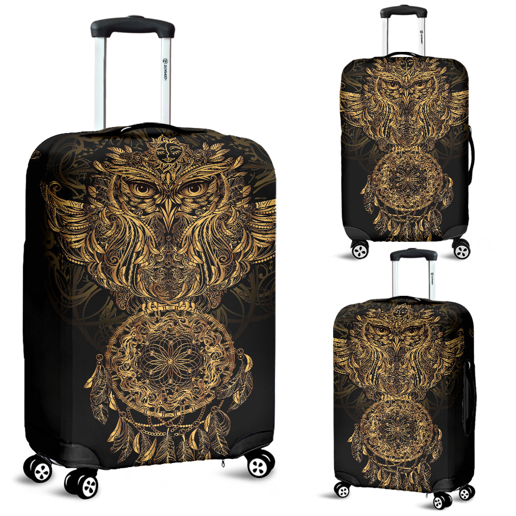 Gold Owl Luggage Cover