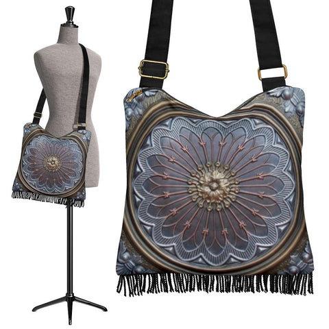 Silver Rose Crossbody Boho Handbag
