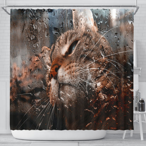 Window Pane Cat Shower Curtain
