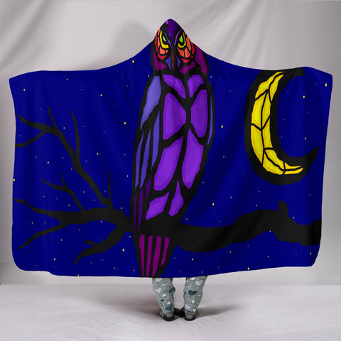 The Owl And The Moon Hooded Blankets