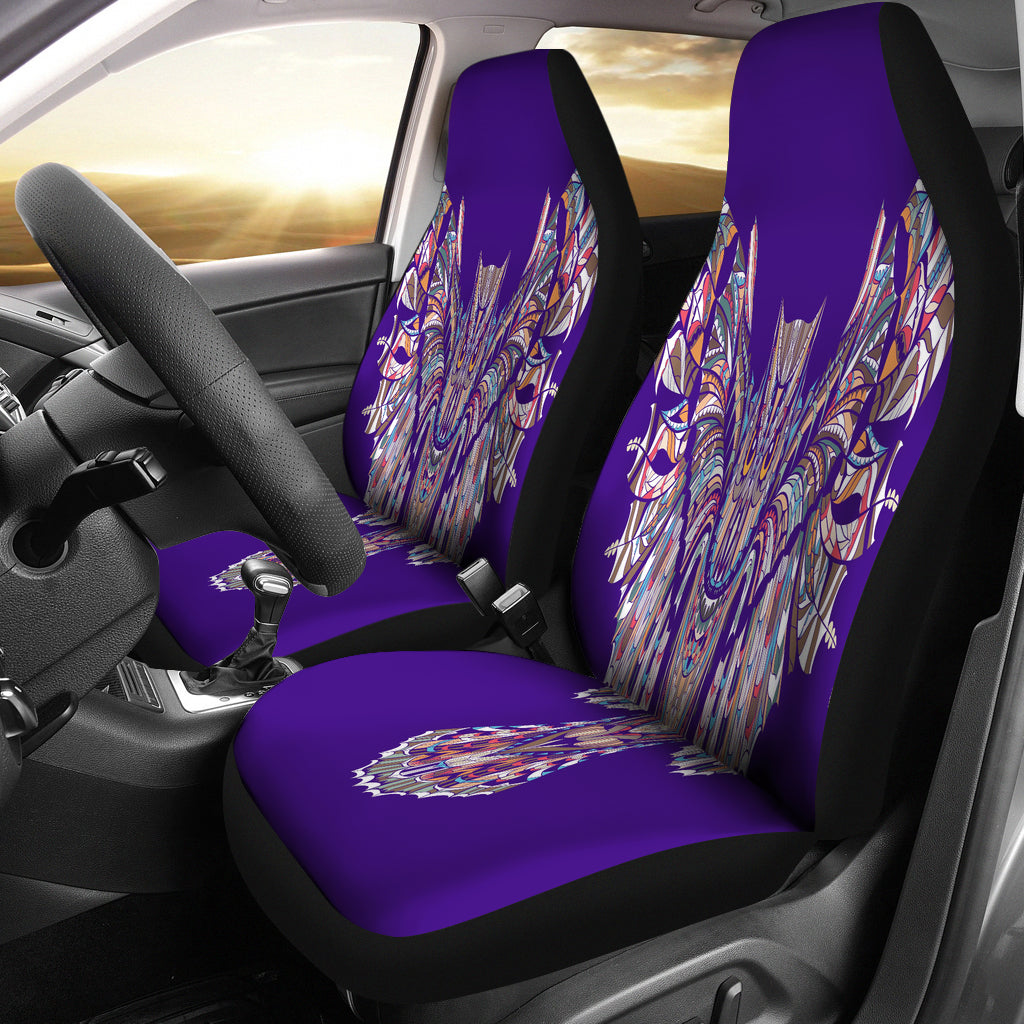 Indigo Fierce Owl Car Seat Cover