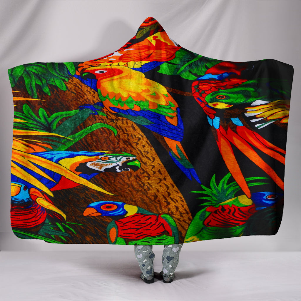 Colorful Birds Hooded Blankets