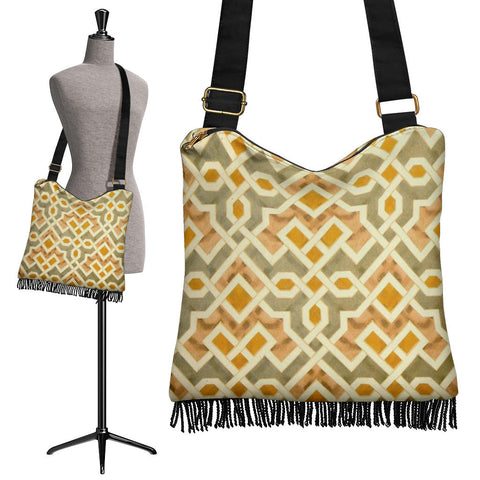 Golden Maze Crossbody Boho Handbag