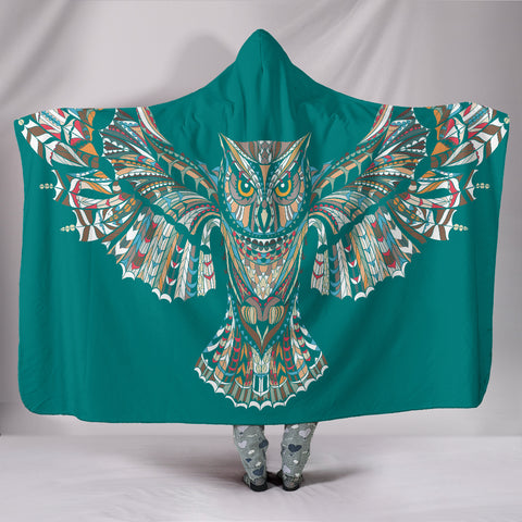 Blue-Green Owl Hooded Blanket - Express Shipping