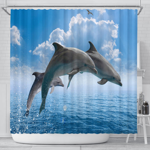 Sea Dolphins Shower Curtain